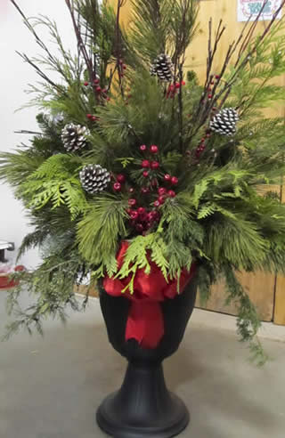 custom christmas containers, christmas containers, porch pot, christmas front door decor, front door christmas decorating, winnipeg garden centers christmas, jensen nursery, christmas